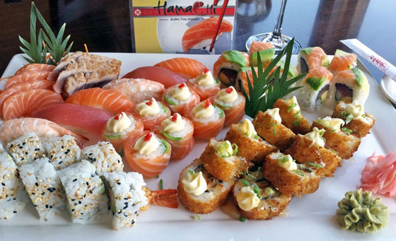 A 24-piece gourmet sushi platter for 2 at the exclusive Hamachi