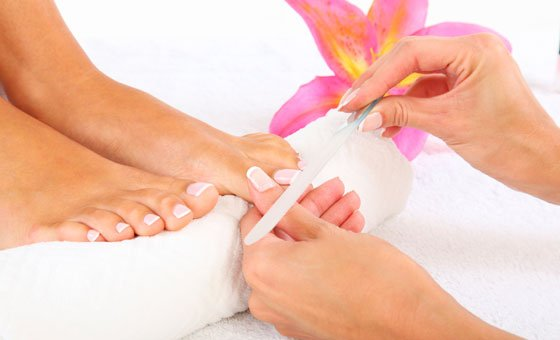 A pedicure and gel paint at AboveBoard Beauty