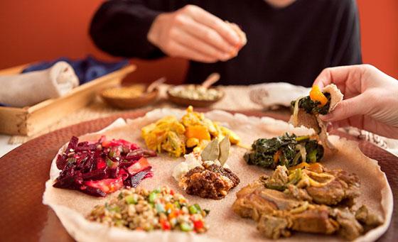 A 7 course meal for 2 at Queen Sheba Ethiopian Restaurant