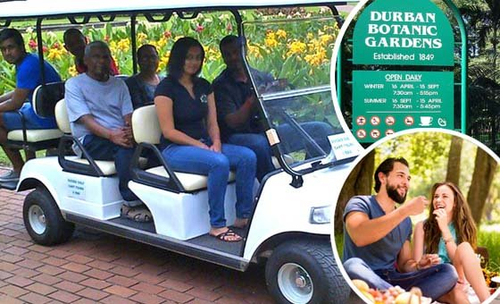 Enjoy a golf cart tour of Durban Botanic Gardens with your partner courtesy of Blue Dolphin Tourist Services - includes a picnic afterwards