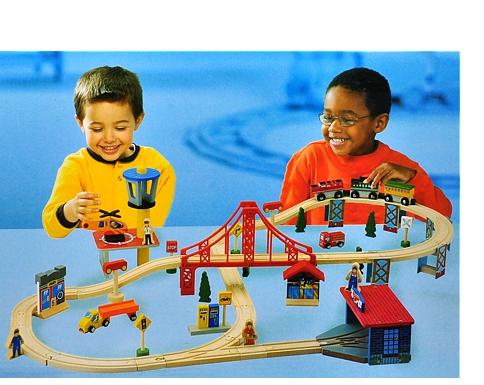 Delightful Wooden Train Set With Bridge