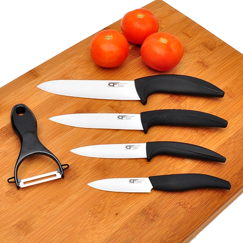 Ceramic Knives And Bamboo Cutting Board Set