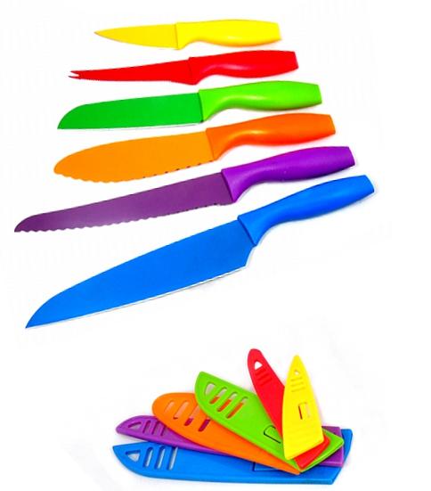 Coloured Steel Knife Set Of 6 Knives