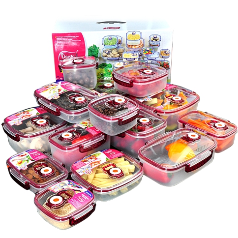 14 Arsto Vacuum Sealing Containers With Red Trim