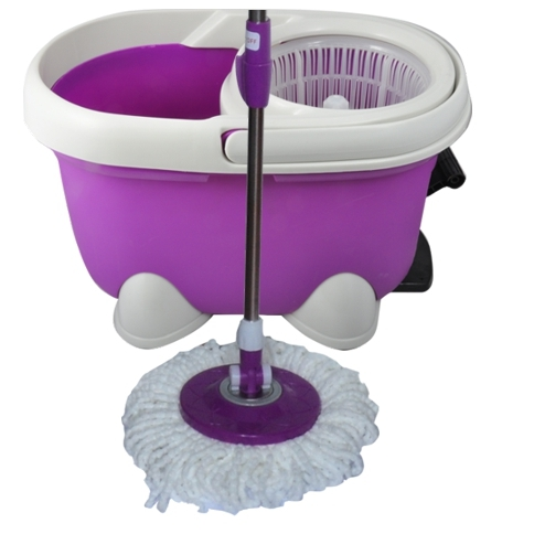 Purple And White Spin Drying Mop