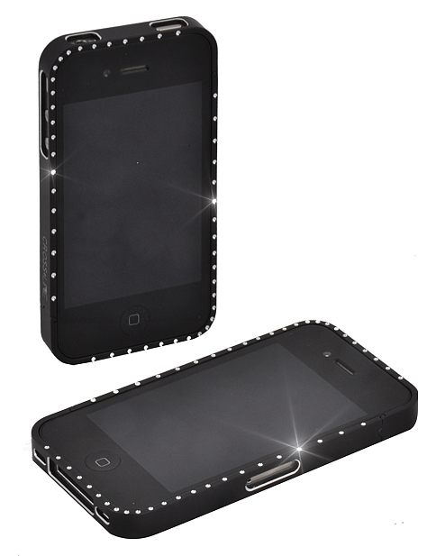 Black Iphone 4 Series Case With Quality Diamante Bling
