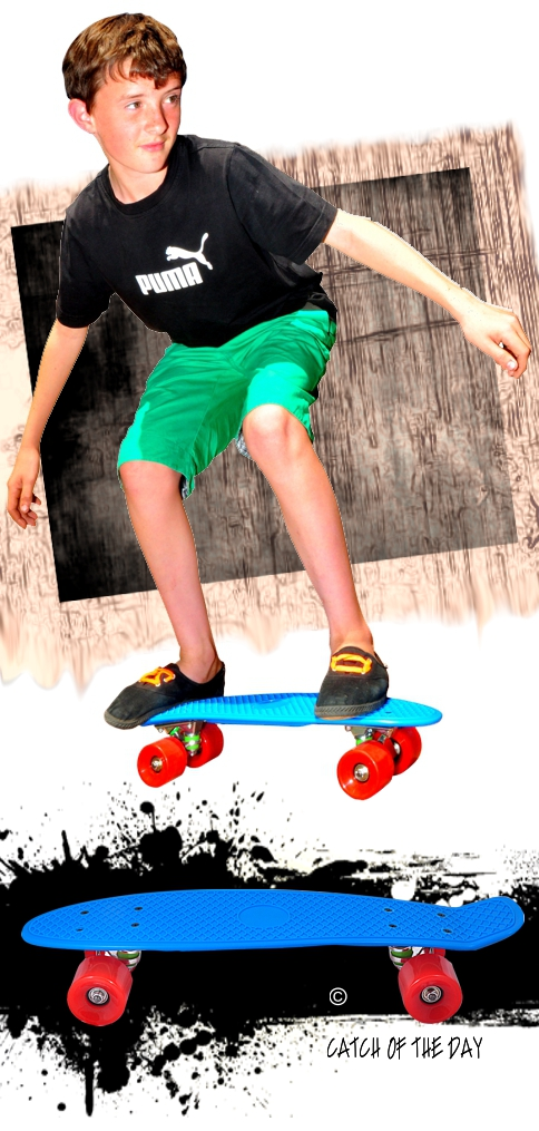 Retro Skateboard Blue With Red Wheels