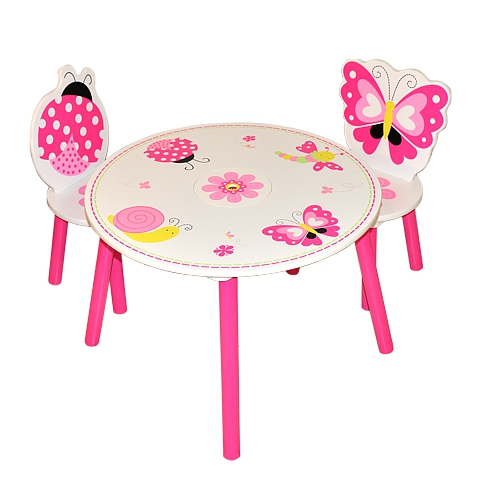 Stunning Butterfly Pattern Girls Table And Chairs 2