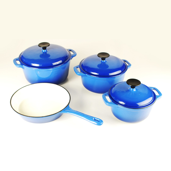 Blue Cast Iron Cookware Set
