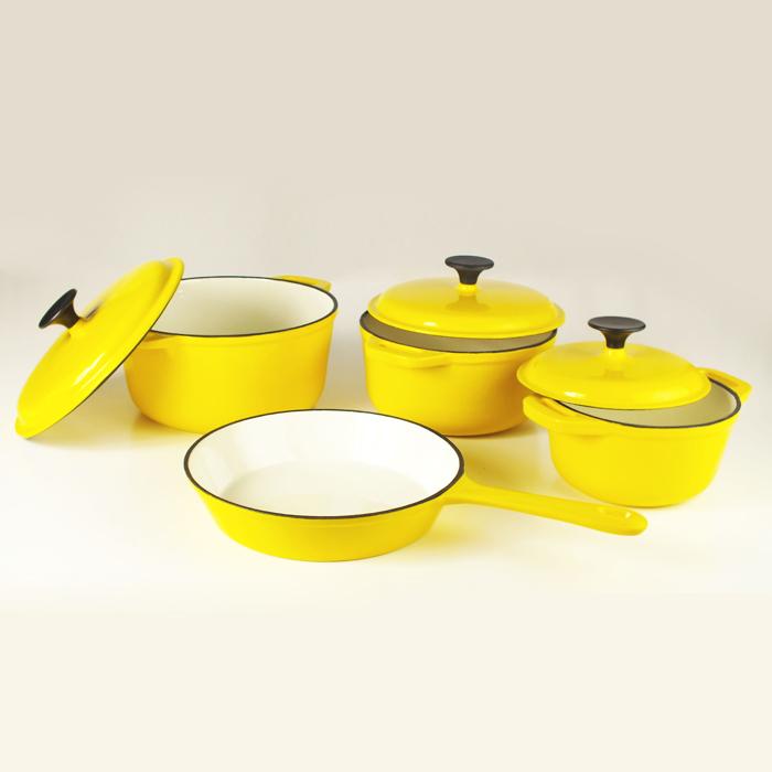 Yellow Cast Iron Cookware Set