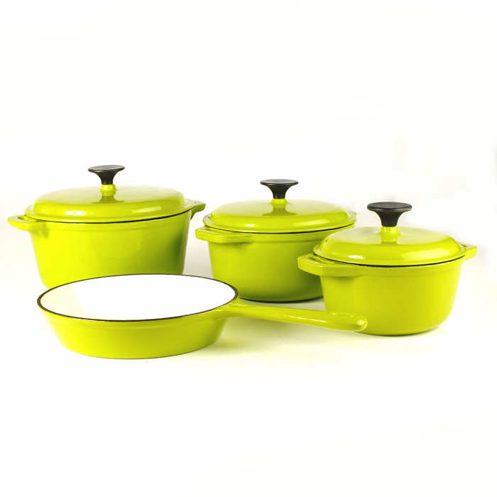 Green Cast Iron Cookware Set