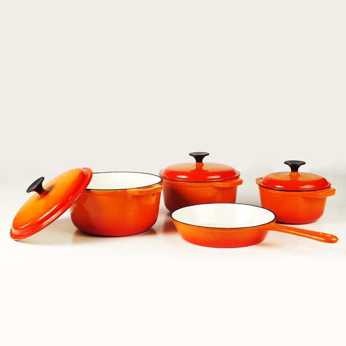 Orange Cast Iron Cookware Set