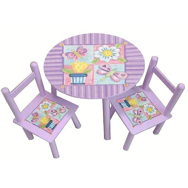 Purple Round Table And Chairs Flower Design