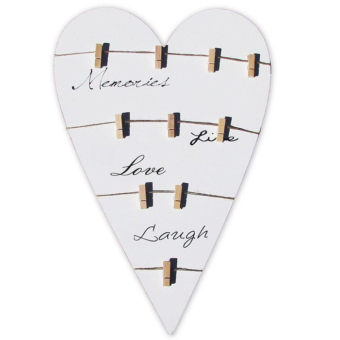 Wooden Love Plaque With Clips 61 X 40cm