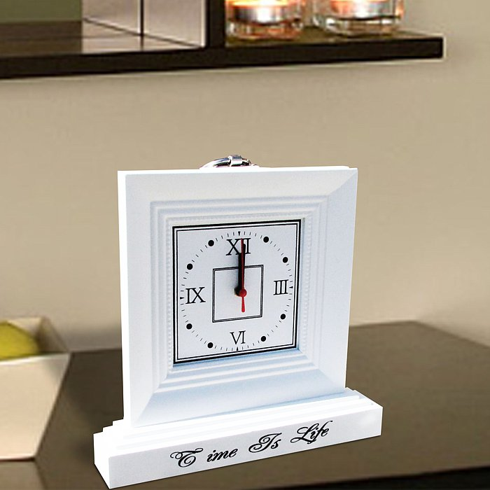 Wooden Mantle Clock With Roman Numerals 30 X 29 X 5cm