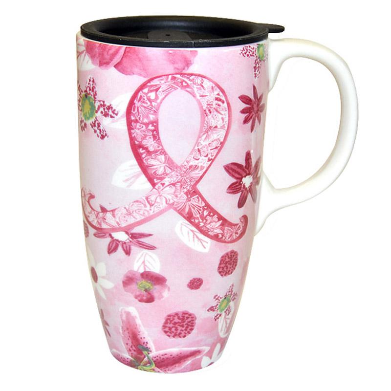 Pink Ribbon Floral Mug