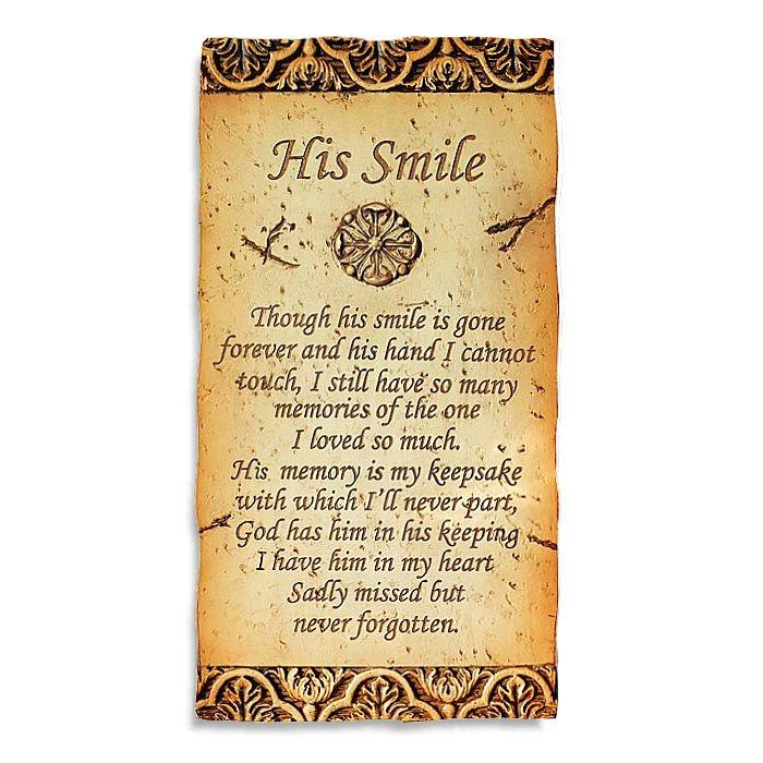 His Smile Plaque 17 X 33cm