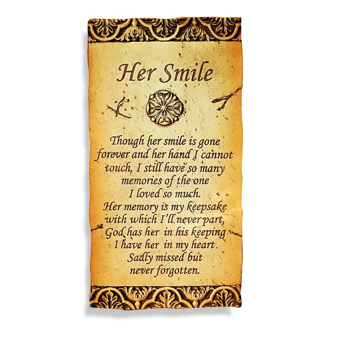 Her Smile Plaque 17 X 33cm