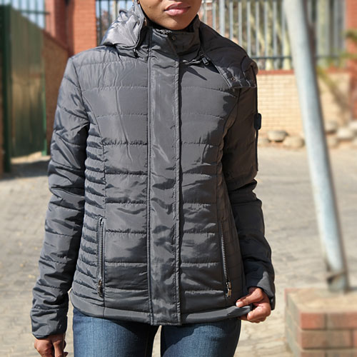 Gunmetal Grey Puffer Jacket With Removable Hood