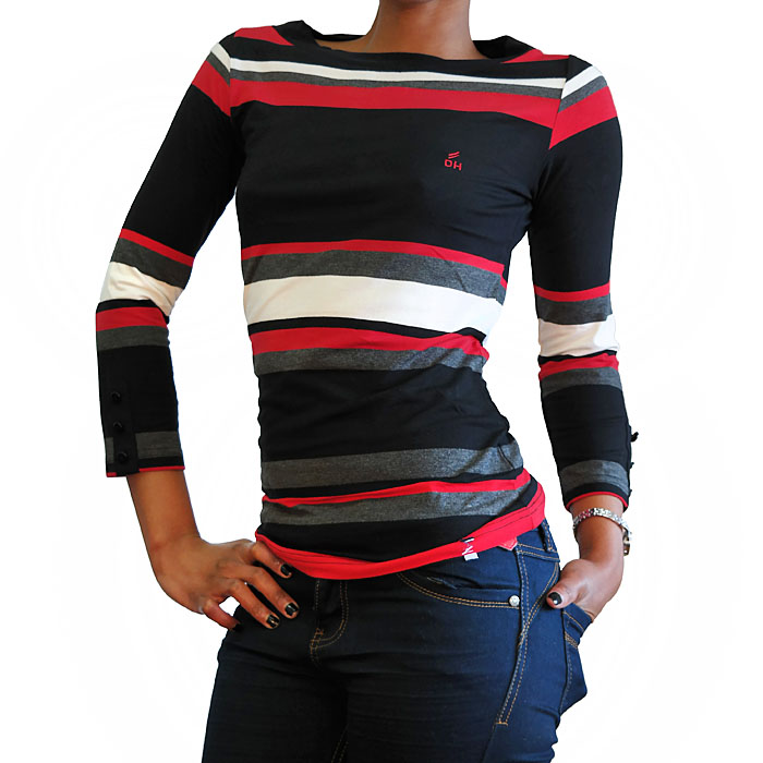 Alternating Stripe Boat Neck Top