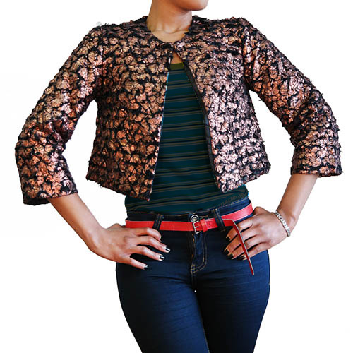 Black And Bronze Faux Fur Jacket