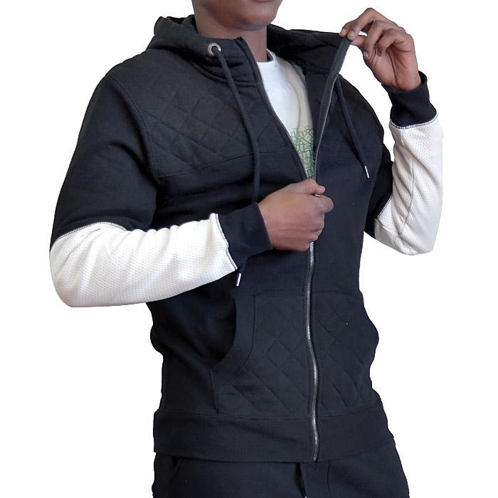 Mens Black Fleece Lined Quilted Hoodie