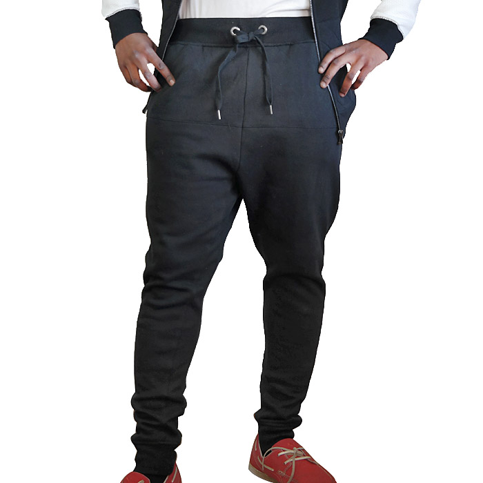Mens Black Fleece Lined Quilted Pants