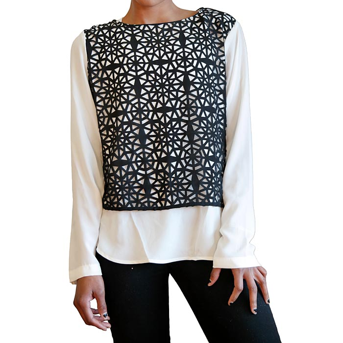 Black And White Lazer Cut Out Blouse