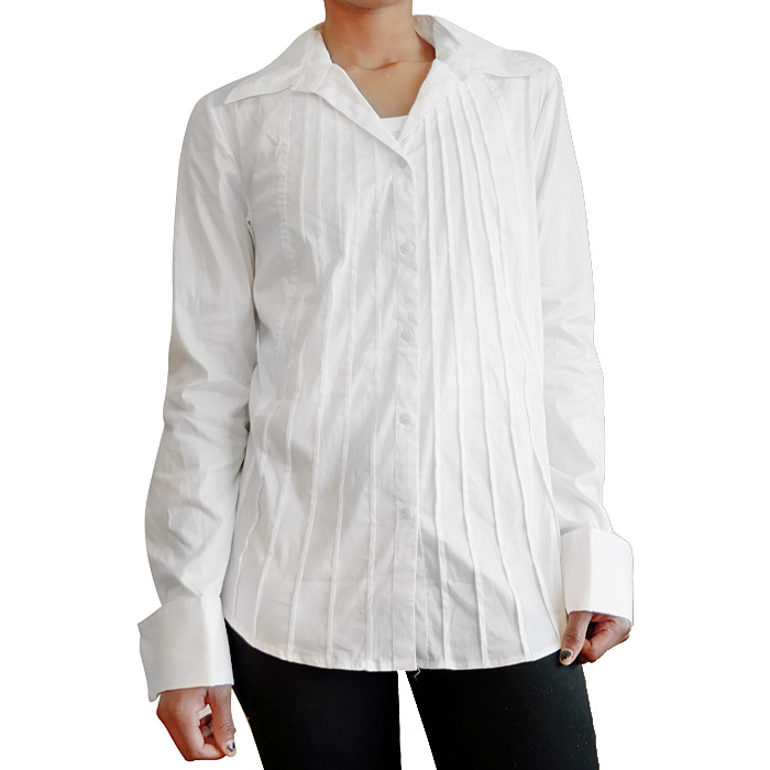White Cotton Pleated Front Shirt