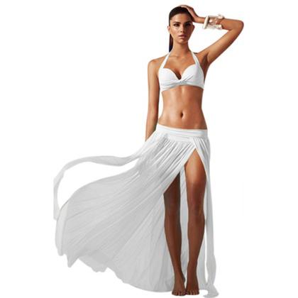 Maxi Beach Skirt With Slits White