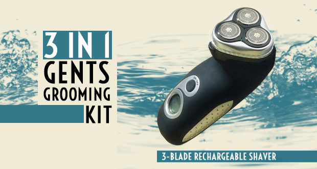 Grooming will be easy with this three-in-one gents' grooming kit for R329 (value R799)