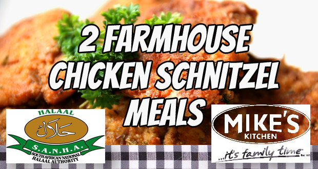 Cut into TWO succulent Farmhouse Chcken Schnitzel meals from Mike's Kitchen for R82 (value: R164) (Rosebank, JHB)