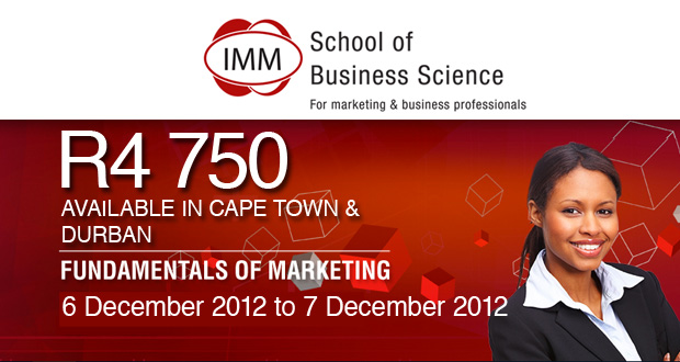 Corporate Social Investment or Fundamentals of Marketing course from IMM for R4 750 (value R9 500) (CT and DBN)