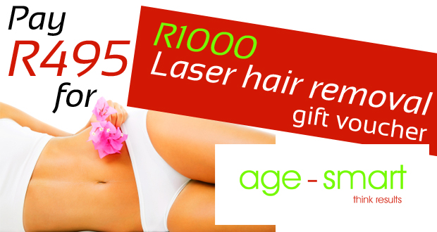 Get a R1000 laser hair removal gift voucher from Age Smart for just R495 (JHB)