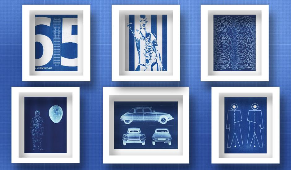 Vintage Photographic Process Turned Blueprint Art