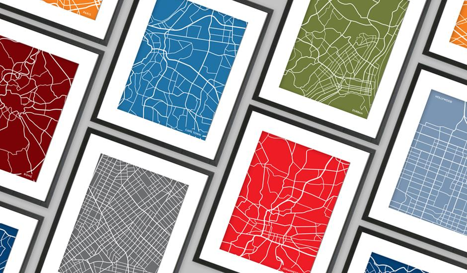 Unique, Line Art City Maps – Made By Hand