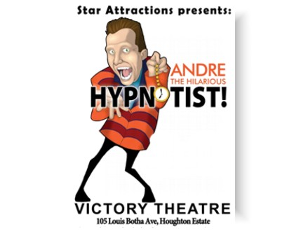 Family Fun! Pay R100 for 2 tickets to Andre the Hilarious Hypnotist at the Victory Theatre, valued at R200 (50% off)
