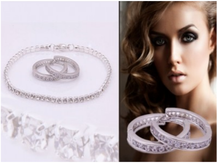 Pay R329 for a Slim-Line Tennis Bracelet and Loop Earrings made with Swarovski Elements Including national delivery Valued At R1637