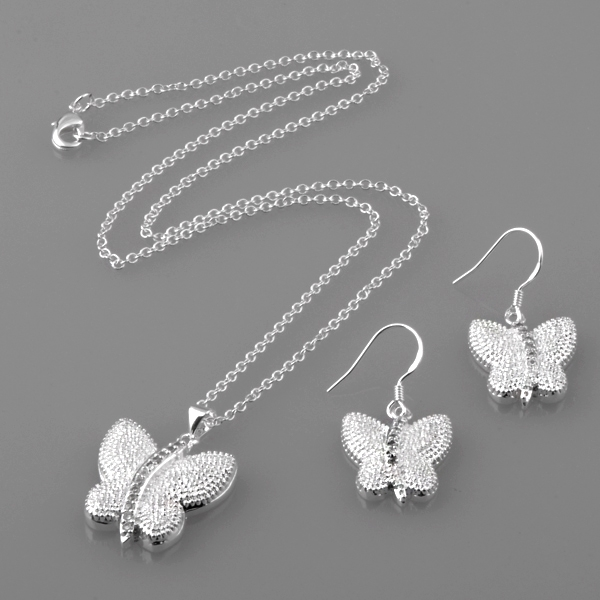 Beautiful Sterling Silver Butterfly Earrings and Necklace Set
