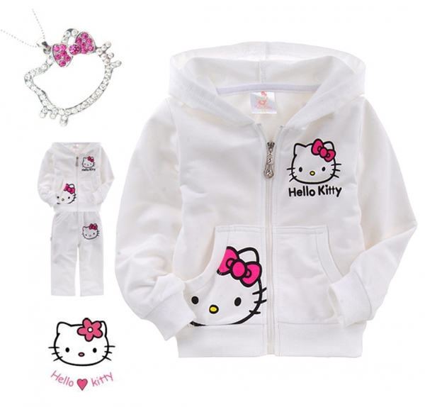 Gorgeous Hello Kitty 2-Piece Winter Tracksuits & Hello Kitty Rhinestone Necklace