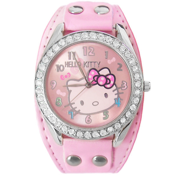 Luscious Leather Strap Rhinestone Face Hello Kitty Watch