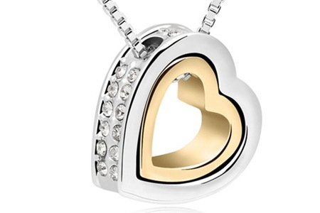 Double Heart Pendant with SWAROVSKI ELEMENTS, Including Delivery
