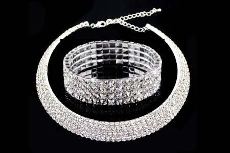 Four-Row Swarovski Element Choker and Stretch Bracelet for R299.99, Including Delivery (58% Off)
