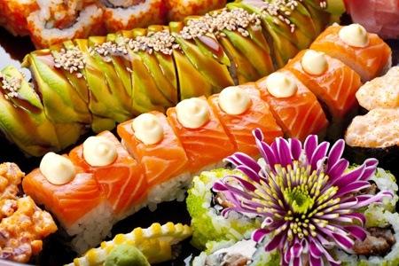 Sushi Platters and Green Tea at Funky Panda Chinese Restaurant & Sushi Bar