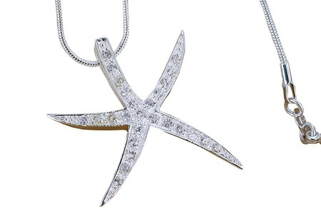 Silver and CZ Diamond Starfish Pendant for R289.99 Including Delivery (58% off)