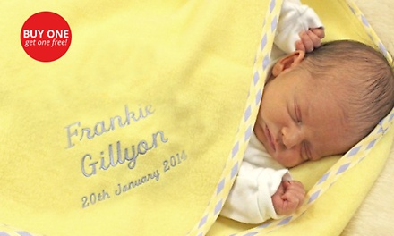 Two for One: Personalised Lemon Coral Fleece Baby Blanket for R399 with The GiftFactory (20% Off)