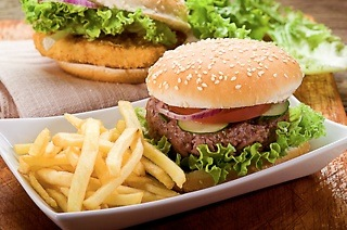 200g Chicken or Beef Burger with Chips from R59 at Café Frappe (Up to 58% Off)