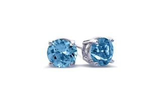 Two-Carat Blue Topaz Sterling Silver Brilliant Cut Stud Earrings for R315 Including Delivery (74% Off)