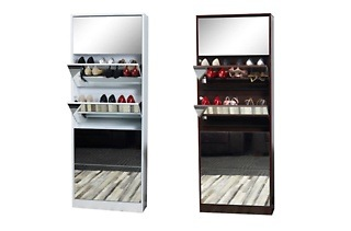 Double Capacity Mirrored Shoe Cabinet for R2 249 Including Delivery (25% Off)