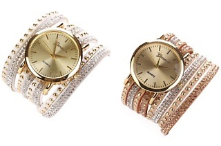 Geneva Wrap-Around Faux Suede White or Bronze Wrist Watch for R299 Including Delivery (40% Off)